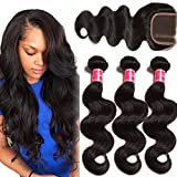 Nadula 6A Unprocessed Brazilian Remy Virgin Human Hair Body Wave Weave Pack of 3 with Free Part Lace Closure Natural Color(14 16 18+12inch Closure)