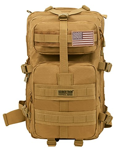 Seibertron Falcon Water Repellent Hiking Camping Backpack Compact Pack Summit Bag Khaki 37L