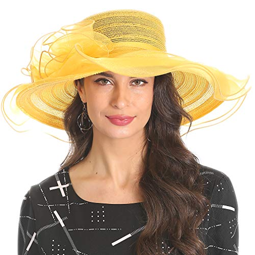 Women's Organza Kentucky Derby Church Dress Hat Fascinator Bridal Wide Brim Tea Party Wedding Hat Yellow