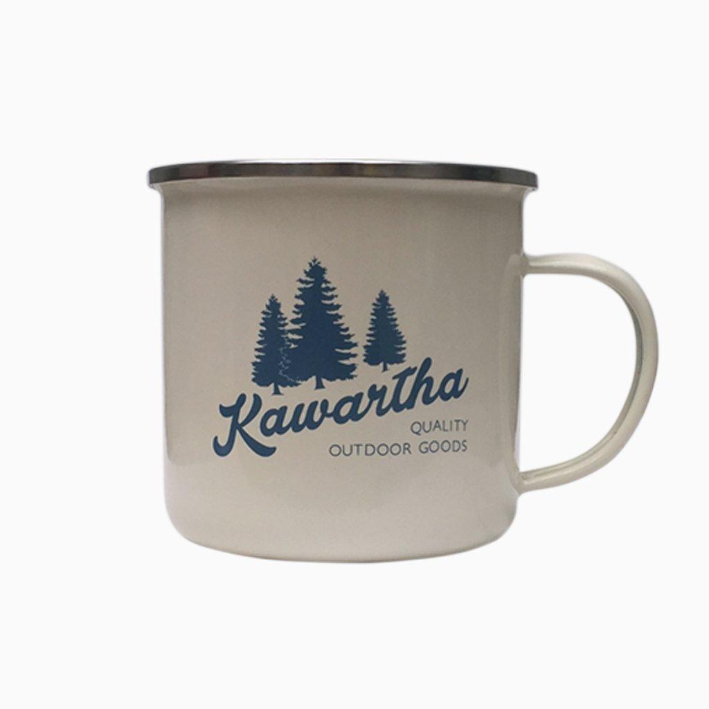 Kawarthaエナメルキャンプとハイキングマグ、ステンレススチールリム ベージュ M-KOCMUG  ベージュ B01LFMSM8S