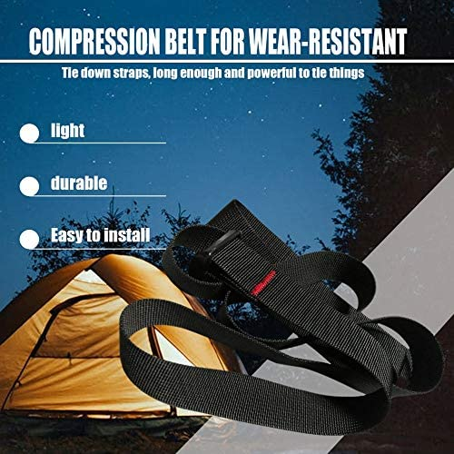 Fantasyworld Design Adjustable Car Tension Tie Down Strap Ratchet Belt Strong Luggage Bag Cargo Box Tie Down Cord Black