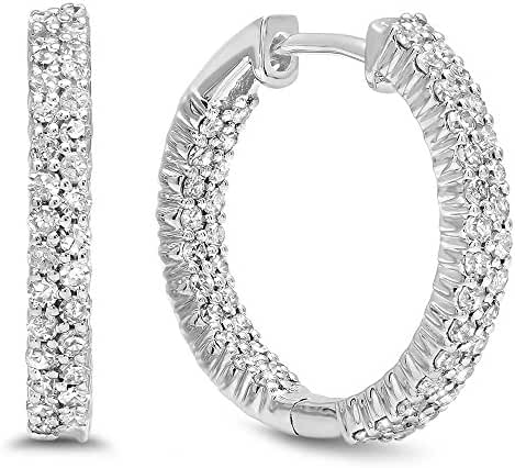 0.80 Carat (ctw) 14K White Gold Round White Diamond Fine In And Out Huggies Hoop Earrings 3/4 CT