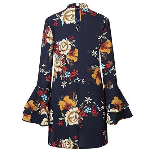 Sleeve Dress Womens Floral Navy Beach Dress Bell Holiday Doinshop High Party Summer Neck qIRxBwng