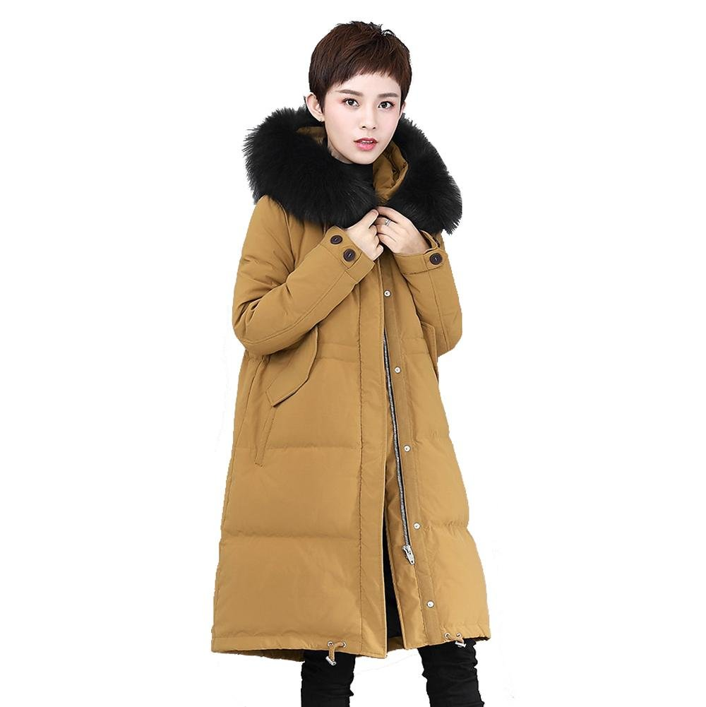 Brown Women Down Jacket Removable Collar Hooded Long Sleeve Zipper Button Pocket Drawstring Thicker Parkas Warm Windproof Puffer Coats