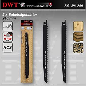 DWT SS-W8-240 - Cuchillas para sierra alternante (2 HCS para madera, 240 mm)