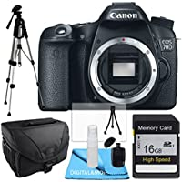Canon EOS 70D Body, 16GB SD SDHC Class 10 Memory Card, Tale Top Tripod, Camera Case, USB Card Reader, Table Top Tripod, Lens Cleaning Kit and LCD Screen Protectors