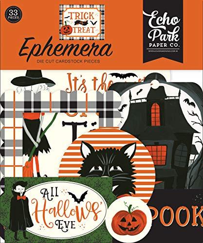 Halloween Scrapbook Embellishments (Echo Park Paper Company TT186024 Trick Or Treat Ephemera, Orange, Black, Green,)
