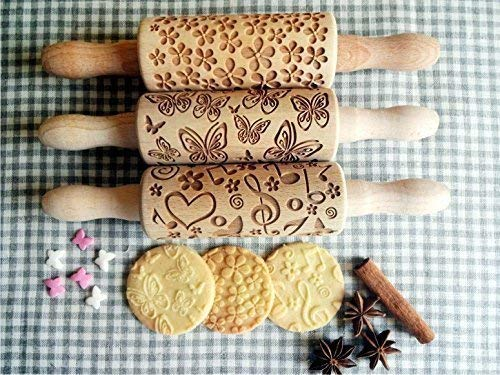 SUMMER 3 KID Rolling pin SET Wooden Laser Cut Mini Rolling Pins for cookies, play dough, salt dough or clay Butterfly Music Flower by Sun Crafts