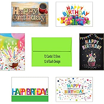 Made In USA 72 Count Blank Birthday Cards Assortment Pack Box Set Interior