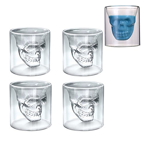 Egoelife Transparent Crystal Skull Shot Glass Drinking Cocktail Beer Wine Juice Cup Mugs for Halloween Themed/Bachelor Parties Bar(Set of 4) (150ML) -