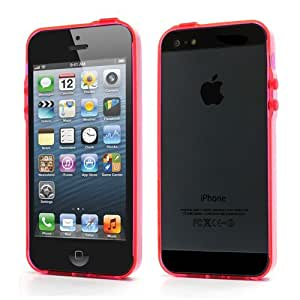 JUJEO Ultra-Slim Plastic Bumper Frame Case for iPhone 5/5S with Dust Plugs - Transparent Red - Non-Retail Packaging