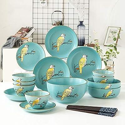 Juego de plato y plato Juego de Platos de cerámica de 25 Piezas ...