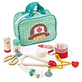 9 Pc Wooden Medical Bag Set - Doctor Pretend Play Toy Medical Kit - Made with Premium Quality Materials - Promotes Imaginary and Creative Roleplay, Helps to Create Health Awareness - For Children 3+