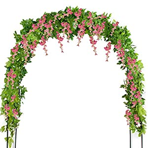 Mavee 4 Pcs 7.2 Feet Artificial Flower Vine Silk Wisteria Garland Hanging Rattan with Ivy Leaf for Wedding Home Decor (Pink) 27