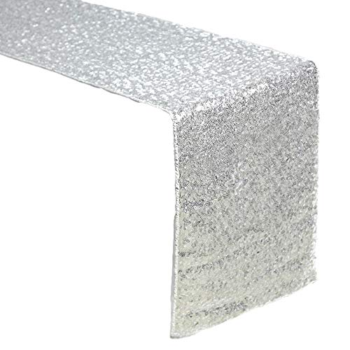 ACRABROS Sequin Table Runners Silver- 12 X 108 Inch Glitter Silver Table Runner-Silver Party Supplies Fabric Decorations for Wedding Birthday Baby Shower]()