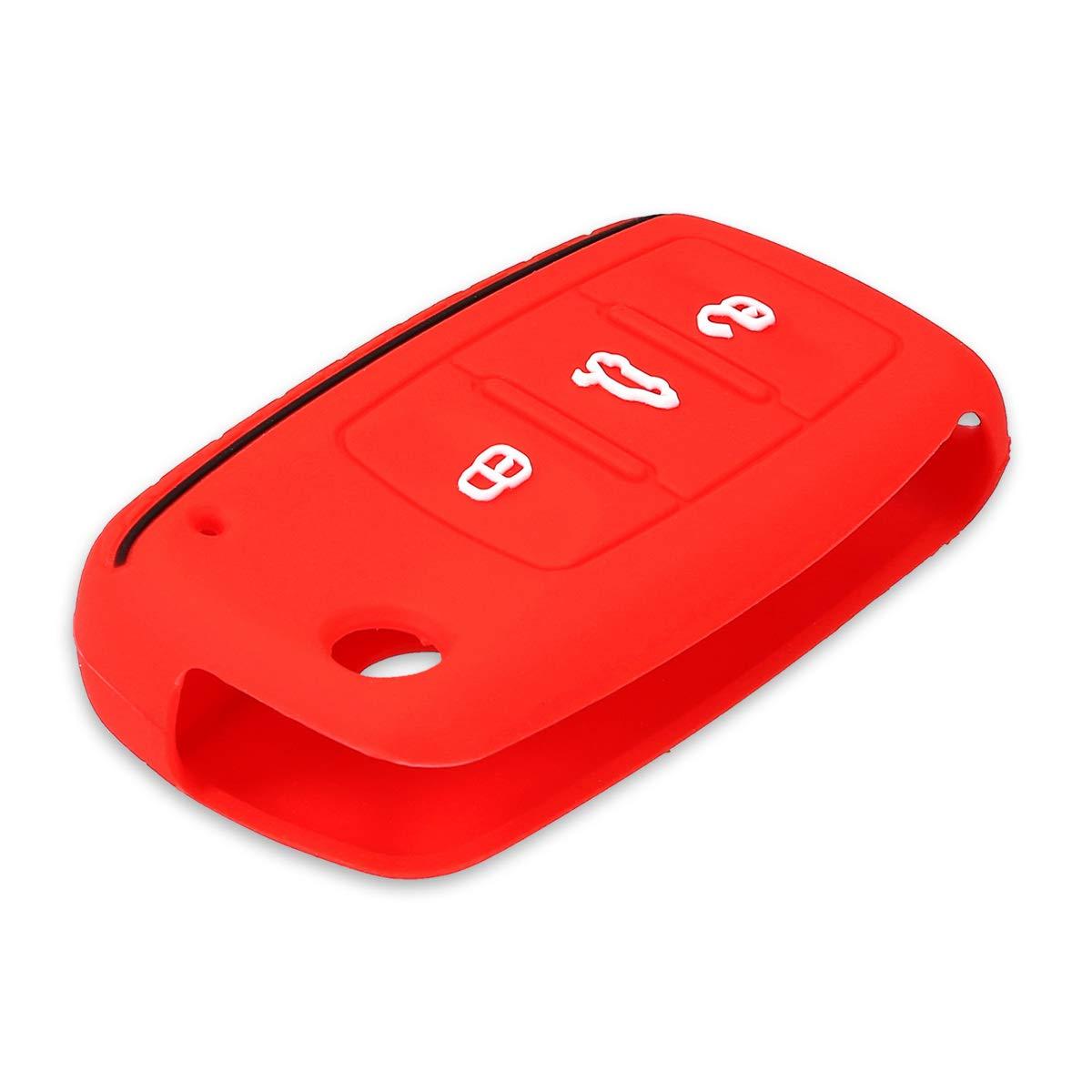 Case Mando de Auto Azul Oscuro//Rojo kwmobile Funda de Silicona para Llave de 3 Botones para Coche VW Skoda Seat Carcasa Protectora Suave de Silicona