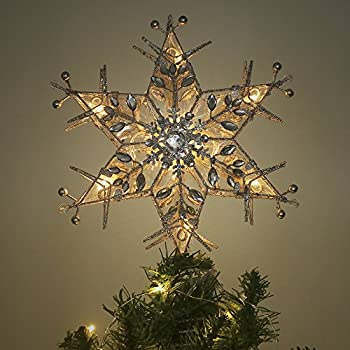 Valery Madelyn 10.8 Inch Pre-Lit Frozen Winter Silver and White Christmas Tree Topper, Metal Tree Top Star with 10 Warm LED Lights, Battery Operated, Themed with Christmas Ornaments (Not Included)