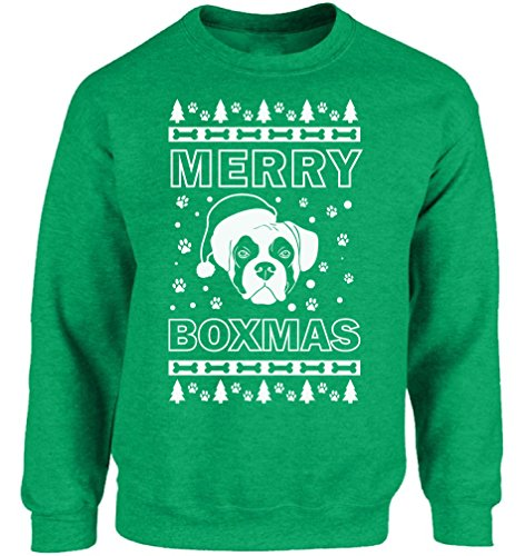 (Vizor Merry Boxmas Sweatshirt Ugly Christmas Sweater for Men and Women Boxer Lover Sweater Xmas Gifts for Dog Lovers Green)