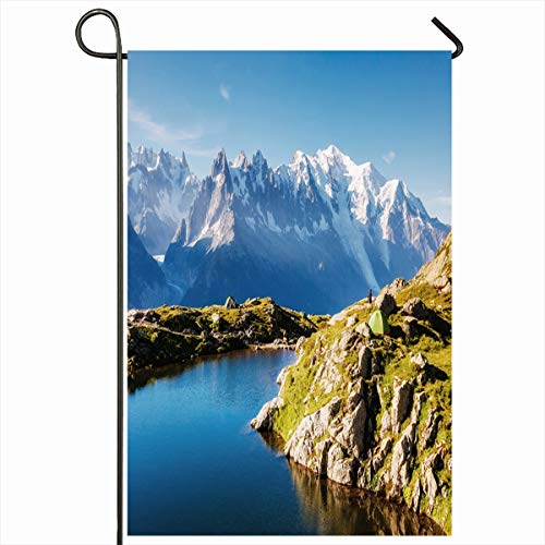 Ahawoso Seasonal Garden Flag 12x18 Inches Fantastic Blue Adventure Views Mont Blanc Glacier Lac Lake Nature Parks Amazing Breathtaking Water Home Decorative Outdoor Double Sided House Yard Sign