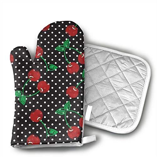 Cherry Fresh Oven Mitt - UFKEOJ Cherrys Oven Mitts,BBQ Microwave Baking Protective Glove and Hot Pot Heatproof Mat Set,Cotton, Machine Washable
