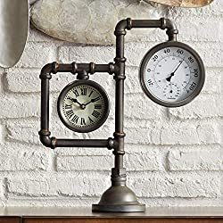 Kensington Hill Strauss 17 1/4 High Industrial Table Clock with Thermometer