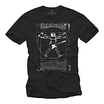 Camiseta con Guitarra Electrica DA VINCI ROCK Hombre Negro S