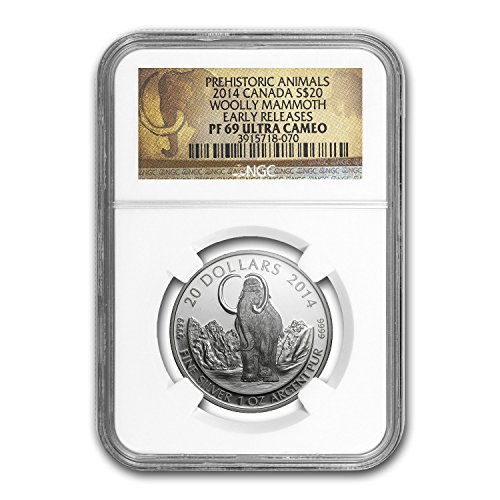 2014 CA Canada 1 oz Proof Silver $20 The Woolly Mammoth PF-69 NGC 1 OZ PR-69 NGC