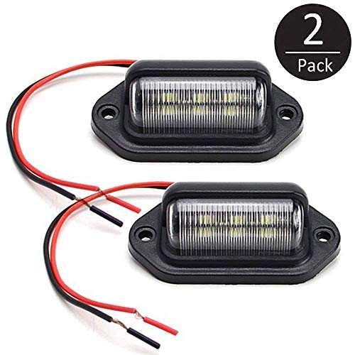 EEEKit 2 Pack 12V 6 SMD LED License Plate Lamp Light for Truck SUV Trailer Van, Step Courtesy Lights, Dome/Cargo Lights or Under Hood Light
