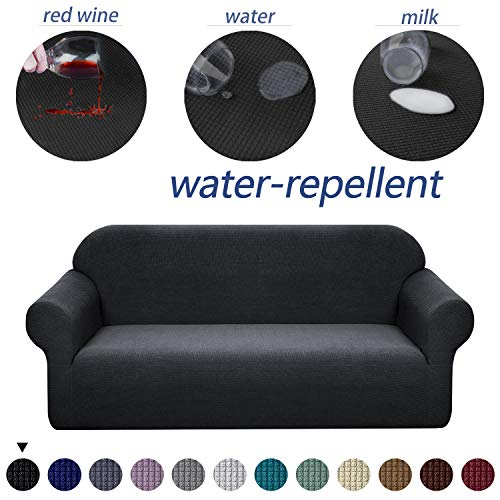 Granbest Premium Water Repellent Sofa Cover High Stretch Couch Slipcover Super Soft Fabric Couch Cover (Black, XL Sofa)