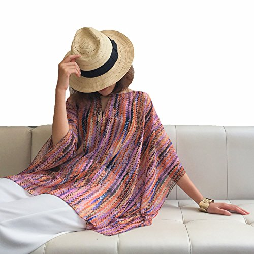 Asymetrical Tunic (Moss Rose Women's Beach Cover up Caftan for Swimsuit Bathing Suit with Floral Print)