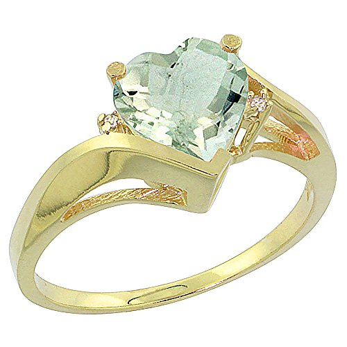 Amethyst Green Ring Gold (10K Yellow Gold Genuine Green Amethyst Heart Ring 7mm Diamond Accent size 9.5)