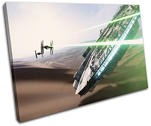 Bold Bloc Design - Star Wars Millenium Falcon Movie Greats 120x80cm SINGLE Canvas Art Print Box Framed Picture Wall Hanging - Hand Made In The UK - Framed And Ready To Hang by Bold Bloc Design