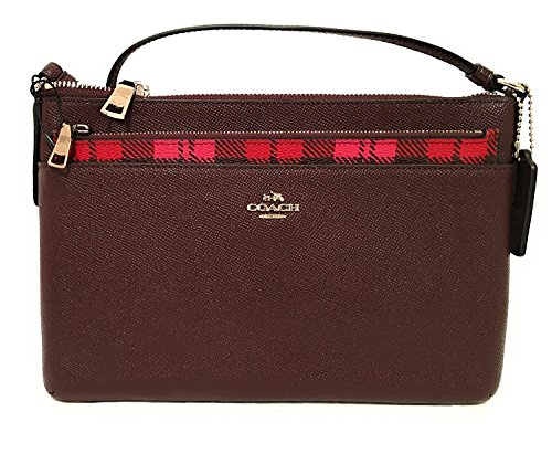 COACH EAST/WEST CROSSBODY WITH POP-UP POUCH WITH WILD PLAID PRINT F22251 Pink Red Multi