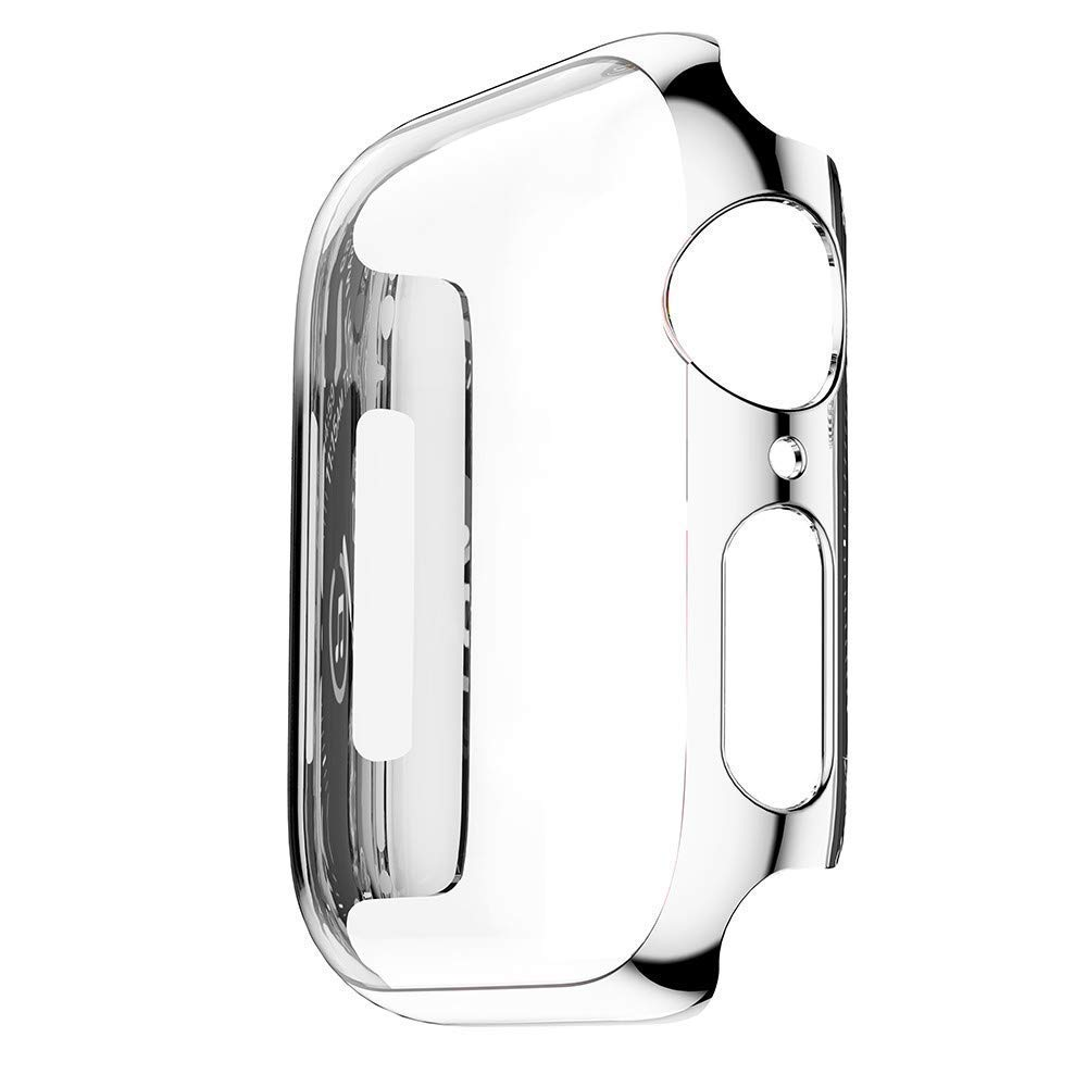 Tech Express Chrome Screen Protector Case for Apple Watch Series 4 [iWatch Cover] Easy Snap On Metallic Rugged Bumper for 40mm & 44mm Shockproof Full Body Hard PC (Silver, 44mm) by Tech Express (Image #2)