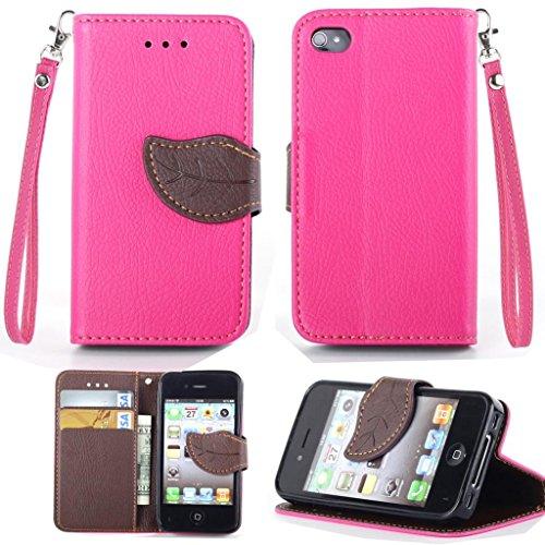 iPhone 4G/4S Hülle, Apple iPhone 4G/4S Hülle Lifetrut® [Rosa] Flip Case mit lebenslanger Garantie + Kartenfächern & Standfunktion
