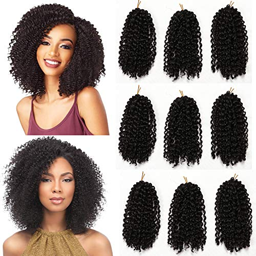 9 Bundles/Lot Marlybob Crochet Hair Kinky Curly Twist Hair Extension 8 Inch Short Jerry Curly Crochet Braids Synthetic Braiding Hairpieces -