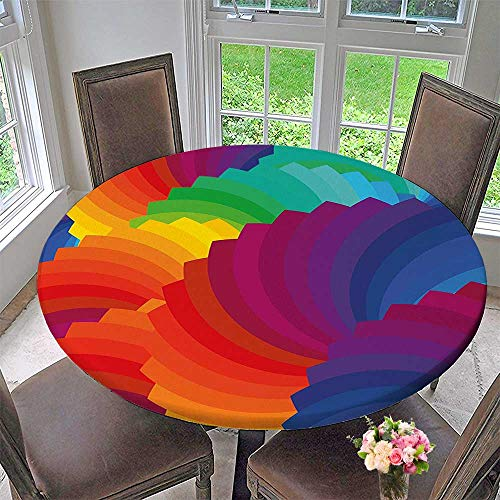 Mikihome Round Fitted Tablecloth Gradient Dash Sea Shell Inspired Dimension Palette Stripes Artisan for All Occasions 31.5