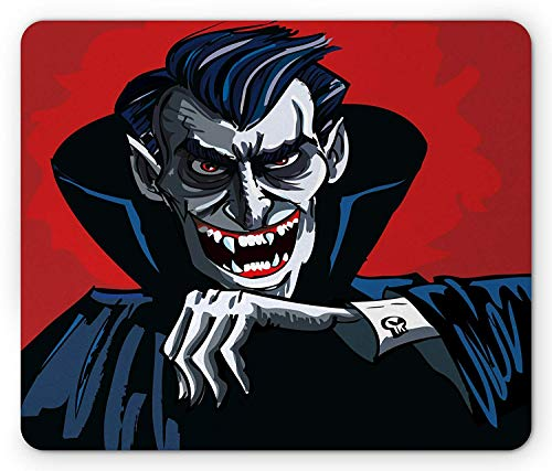 Vampire Mouse Pad, Cartoon Cruel Old Man with Cape Sharp Teeth Evil Creepy Smile Halloween Theme, Standard Size Rectangle Non-Slip Rubber Mousepad, Blue Red -
