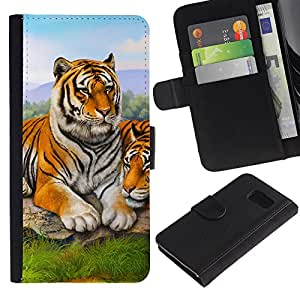 iKiki Tech / Cartera Funda Carcasa - Tiger Cute Painting Animal Nature Africa - Samsung Galaxy S6 SM-G920