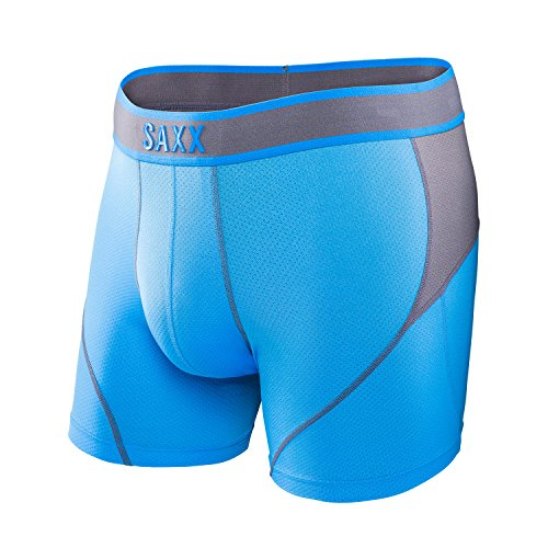 Saxx Mens Kinetic Performance Boxers Underwear Medium Malibu Steel