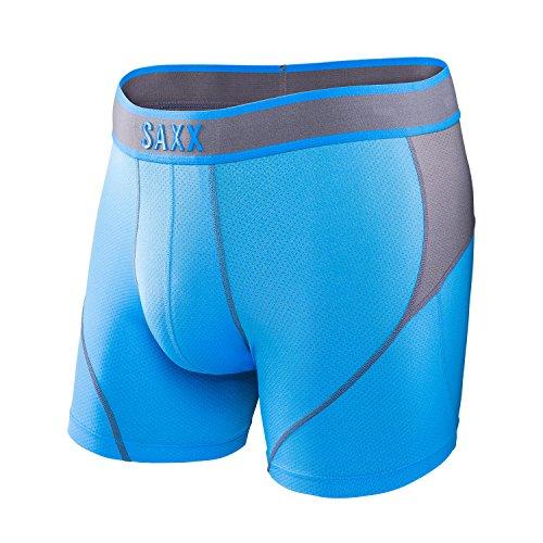 Saxx Mens Kinetic Performance Boxers Underwear Medium Malibu Steel