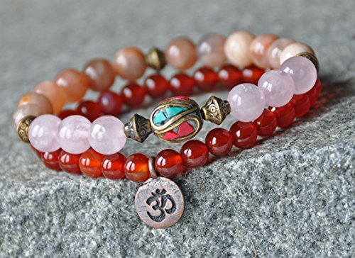 Prosperity Carnelian Yoga Bracelet,Sunstone Abundance Bracelet,Love Rose Quartz ,Chakra Gemstone Bracelet,Tibetan bracelet,Bohemian mala David Yurman Designer Bracelet