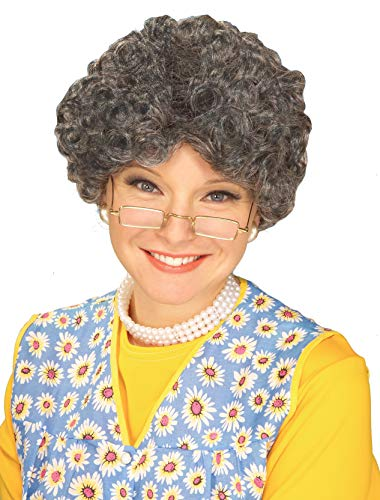 Party Hair Gray Adult Yo Mamma Old Lady Costume Wig Madea Granny]()