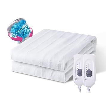 ASDFGH Snuggle Control Doble Calienta Camas eléctrico,Protección del Medio Ambiente Seguridad Calienta Camas eléctrico Calefacción Tiro Lavable Casa-Blanco ...