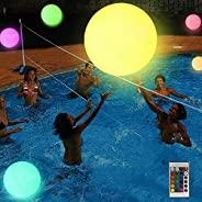 Large swimming pool float and LED illuminated beach ball with remote control-16 color lights and 4 light modes