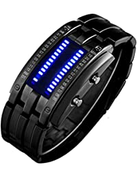Binary Matrix Blue LED Digital Waterproof Watch Mens...