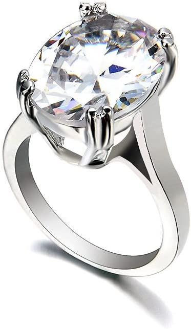 1pc 925 Silver Women Wedding Engagement Ring White Sapphire Party Jewelry
