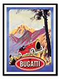 Iposters Bugatti Car Advert Print Magnetic Memo Board Black Framed - 41 X 31 Cms (approx 16 X 12 Inches)