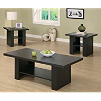 Monarch Specialties 3-Piece Hollow-Core Occasional Table Set, Cappuccino