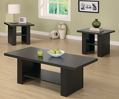 Monarch Specialties 3-Piece Hollow-Core Occasional Table Set, Cappuccino - Three Piece Occasional Set